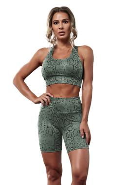 绿色瑜伽动物斑纹锻炼运动短裤套装两件套