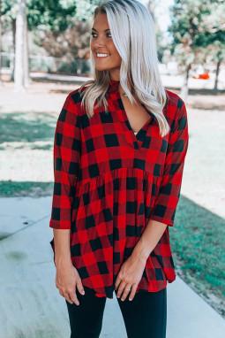 红色休闲格纹3/4袖开领前短后长宽松女士上衣
