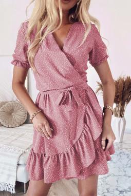 粉色波西米亚波点印花裹身V领荷叶边迷你连衣裙