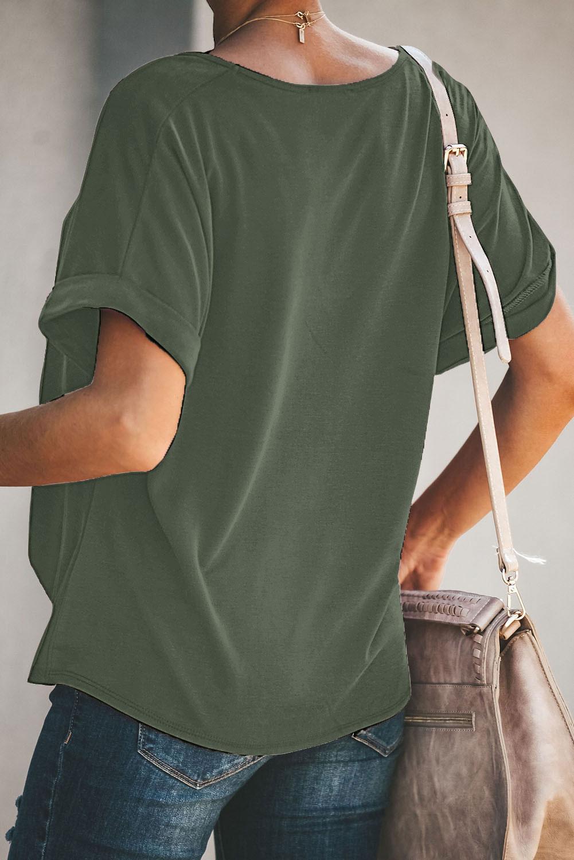 绿色微V领短袖时尚扭纹宽松休闲T恤 LC253167