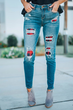 经典仿旧格子补丁修身牛仔裤