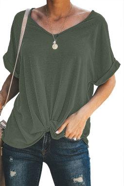 绿色微V领短袖时尚扭纹宽松休闲T恤