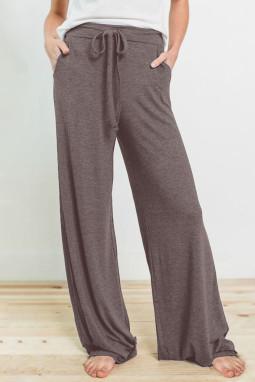 褐色抽绳松紧腰身运动休闲宽松长裤