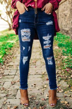 蓝色仿旧磨破中腰牛仔长裤