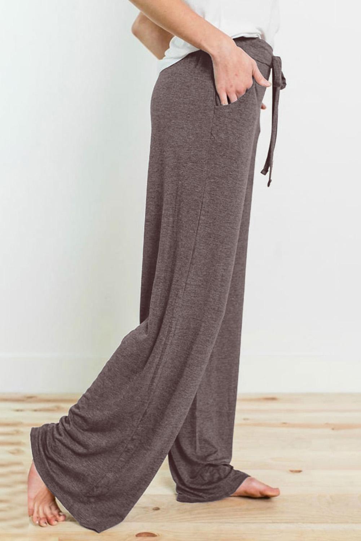 褐色抽绳松紧腰身运动休闲宽松长裤 LC77343