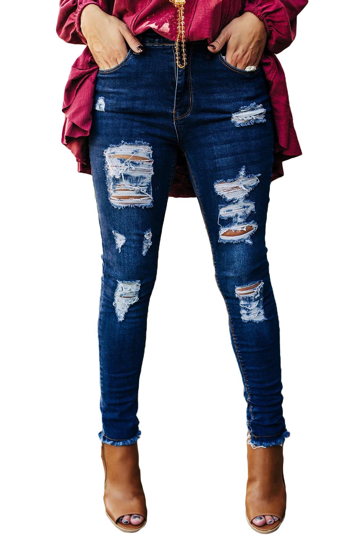 蓝色仿旧磨破中腰牛仔长裤 LC781008