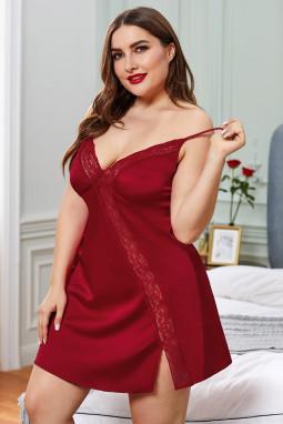 红色大码可爱蕾丝拼接情人节娃娃装连衣裙