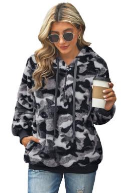 灰色迷彩印花拉链半开襟保暖毛绒连帽套头衫