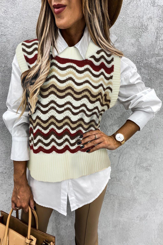 红色拼色波浪纹时尚可爱套头背心毛衣 LC27032