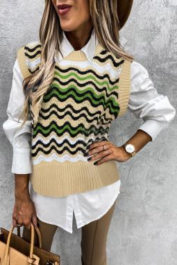 绿色拼色波浪纹时尚可爱套头背心毛衣