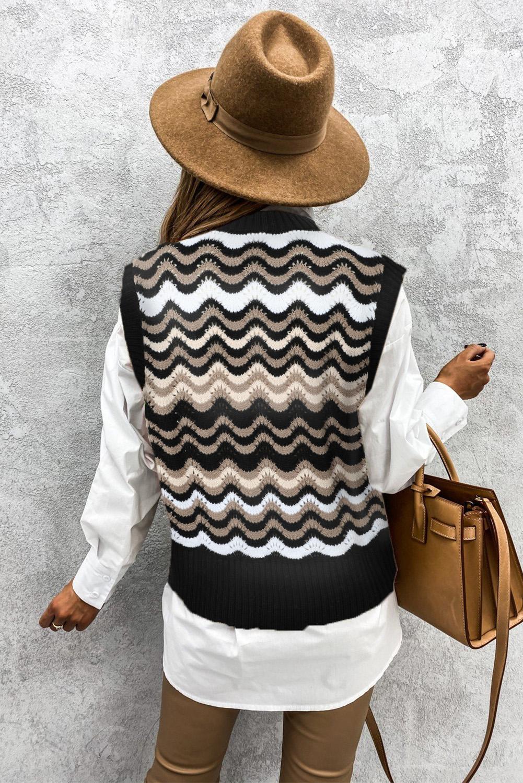 黑色拼色波浪纹时尚可爱套头背心毛衣 LC27032