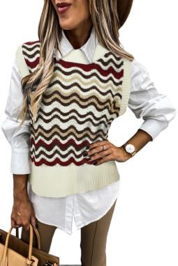 红色拼色波浪纹时尚可爱套头背心毛衣