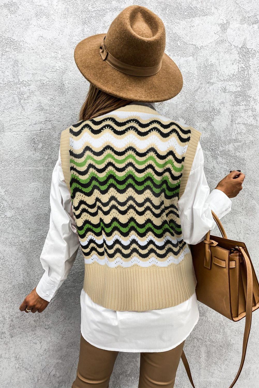 绿色拼色波浪纹时尚可爱套头背心毛衣 LC27032