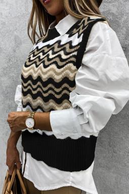 黑色拼色波浪纹时尚可爱套头背心毛衣