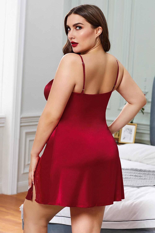 红色大码可爱蕾丝拼接情人节娃娃装连衣裙 LC31309