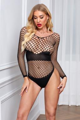 黑色诱人镂空渔网长袖连体内衣