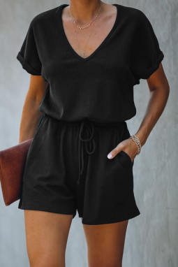 黑色V领短袖口袋针织连体裤