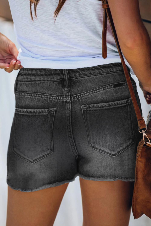 黑色高腰破损磨边牛仔短裤 LC78833
