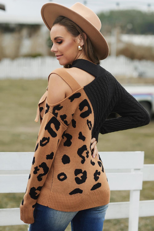 黑色不对称露肩时尚搭扣豹纹拼接长袖套头毛衣 LC272919