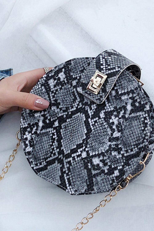 黑色时尚蛇纹可爱斜挎小圆包 LC003412