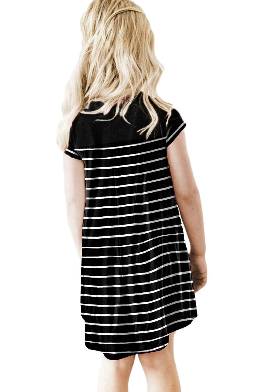 黑色拼色条纹圆领短袖舒适可爱小女孩连衣裙 TZ61105