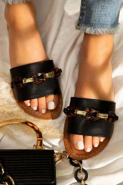精美装饰链细节黑色便鞋拖鞋