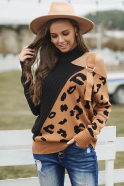 黑色不对称露肩时尚搭扣豹纹拼接长袖套头毛衣