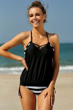 黑色背心式三角条纹保守泳装两件套
