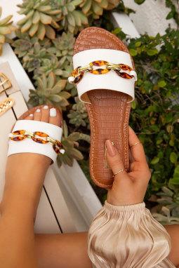 精美装饰链细节白色便鞋拖鞋