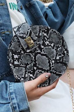 黑色时尚蛇纹可爱斜挎小圆包