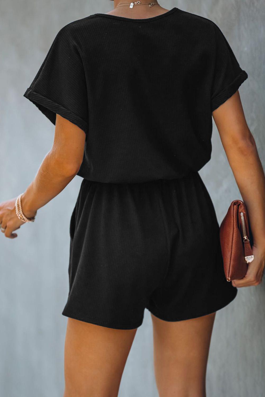 黑色V领短袖口袋针织连体裤 LC641502