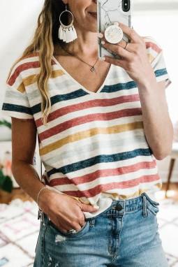 可爱多色条纹V领短袖休闲女士T恤