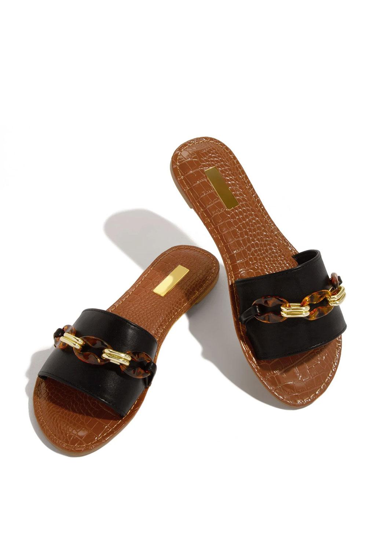 精美装饰链细节黑色便鞋拖鞋 LC12547