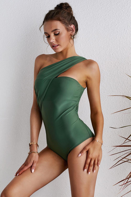绿色不对称单肩别致单肩一件式泳装 LC44265
