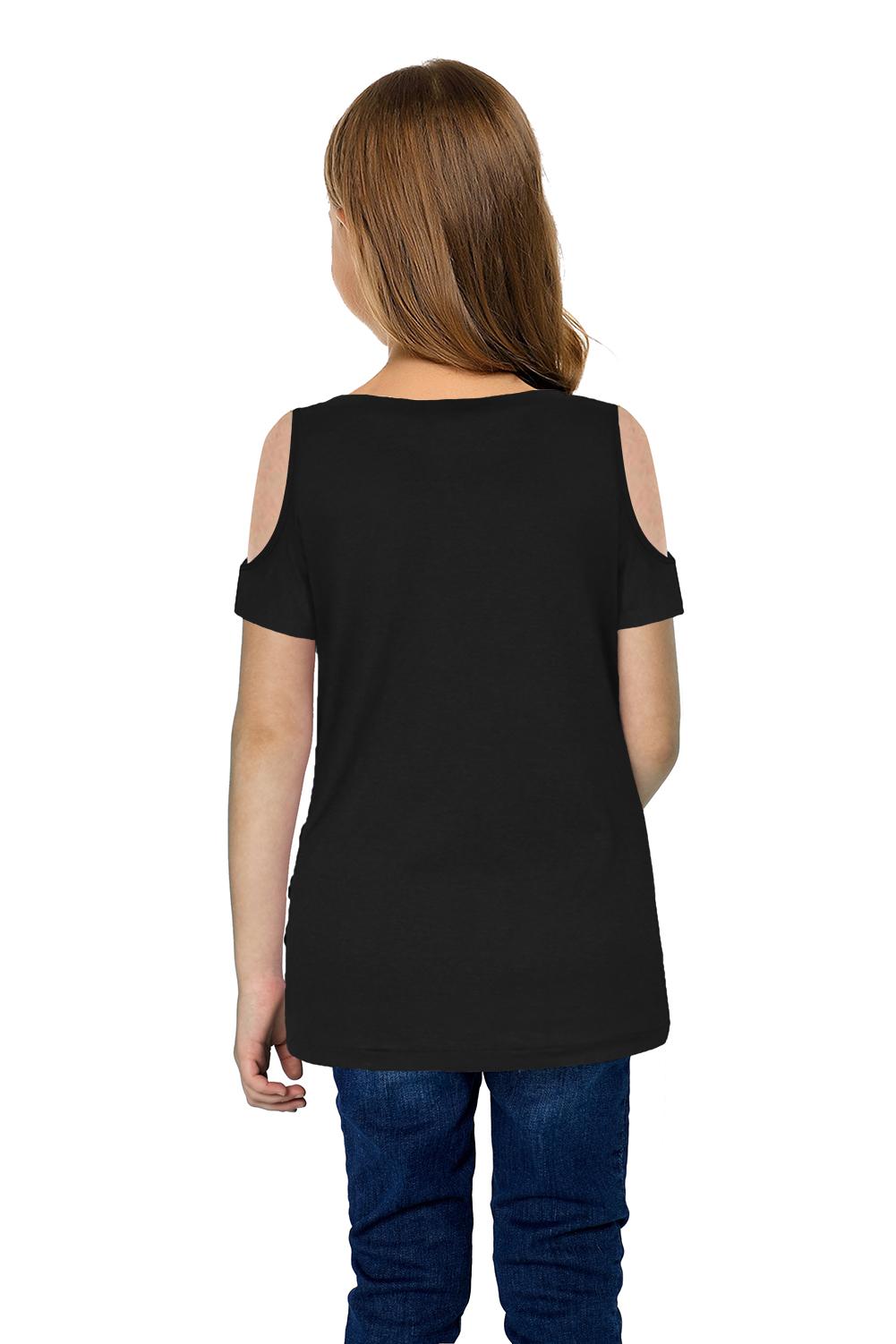黑色冷肩扭纹简约休闲小女孩短袖上衣 TZ25170