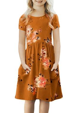 橙色宽松短袖口袋可爱波西米亚花卉儿童连衣裙