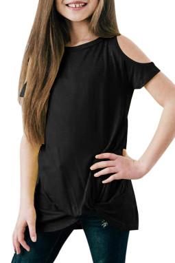 黑色冷肩扭纹简约休闲小女孩短袖上衣