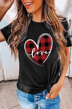 黑色休闲圆领格纹爱心舒适短袖女士T恤衫