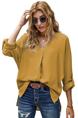 深黄色V领3/4袖高低下摆时尚宽松上衣