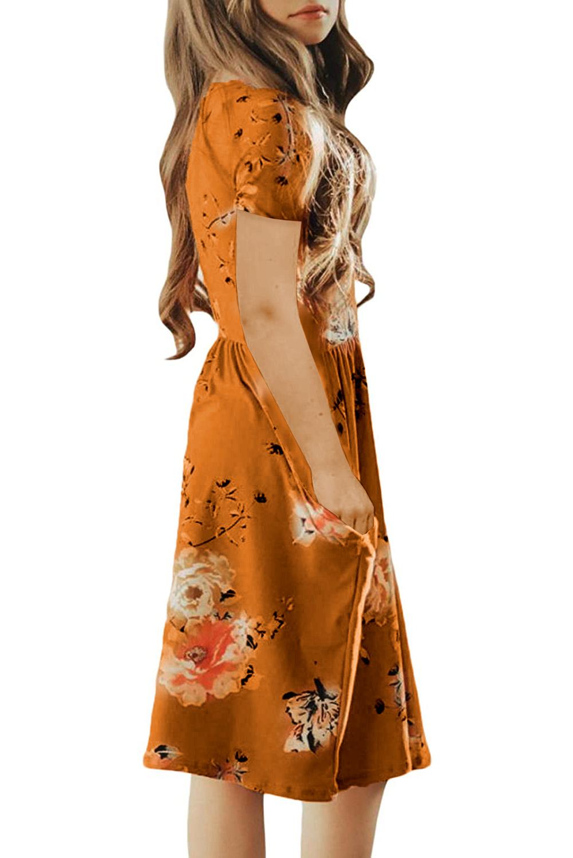 橙色宽松短袖口袋可爱波西米亚花卉儿童连衣裙 TZ61103