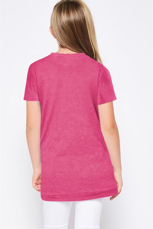 玫红色宽松可爱纽扣装饰小女孩舒适T恤衫 TZ25152