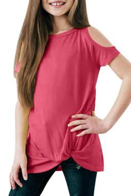 玫红色冷肩扭纹简约休闲小女孩短袖上衣
