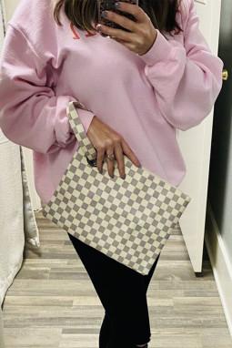 白色格纹印花便携可爱时尚手拿包