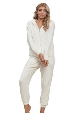 白色毛绒拉链连帽衫长裤休闲运动套装