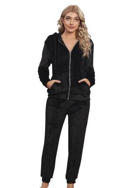 黑色毛绒拉链连帽衫长裤休闲运动套装