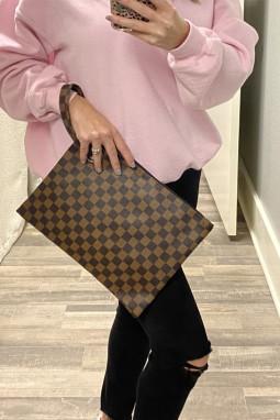 棕色格纹印花便携可爱时尚手拿包