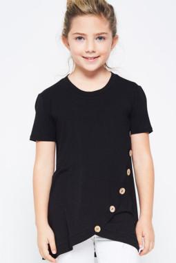 黑色宽松可爱纽扣装饰小女孩舒适T恤衫