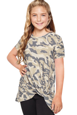 休闲宽松可爱迷彩扭纹女童圆领短袖T恤衫