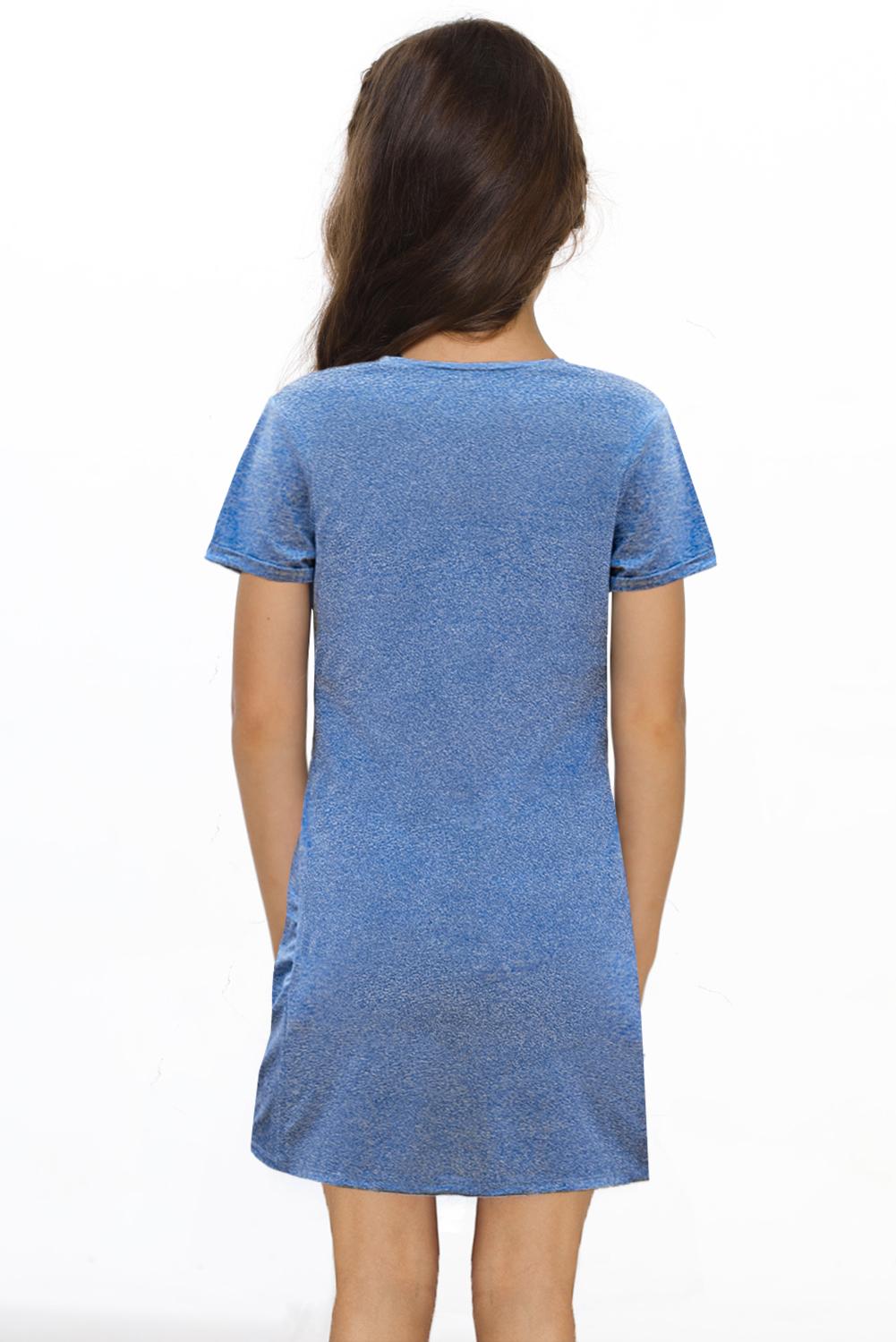 蓝色简约休闲小女孩V领短袖扭褶T恤迷你裙 TZ61107
