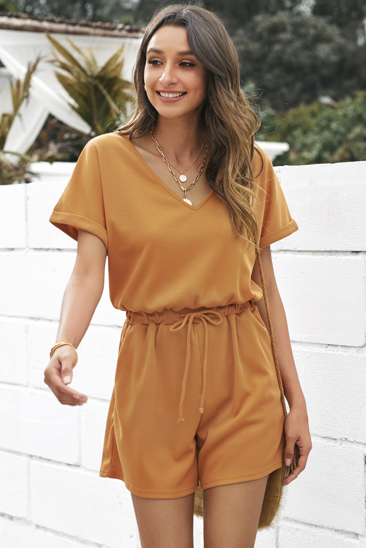 棕色V领短袖口袋针织连体裤 LC641502
